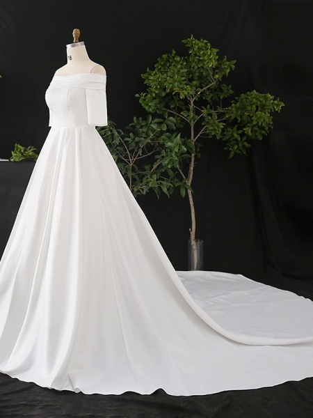 A-Line Wedding Dresses Off Shoulder Court Train Satin Half Sleeve Simple Elegant_3