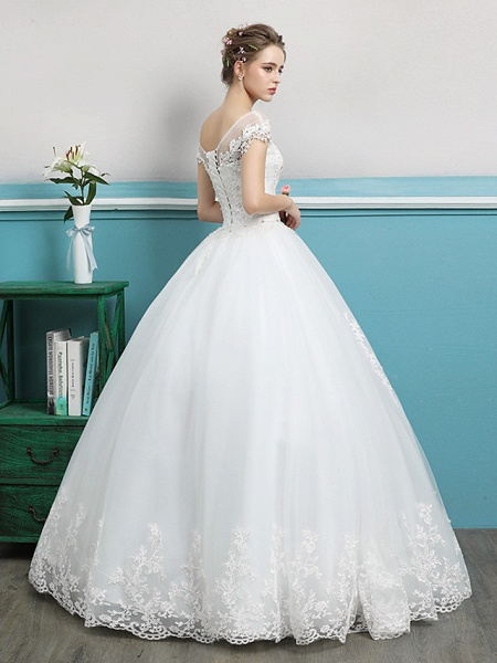 Ball Gown Wedding Dresses Bateau Neck Floor Length Lace Tulle Polyester Short Sleeve Romantic_5