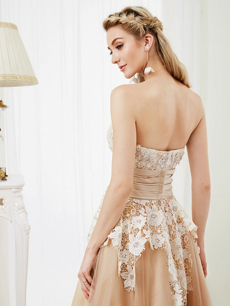 Ball Gown Wedding Dresses Strapless Tea Length Lace Satin Tulle Strapless Romantic Casual Illusion Detail_8