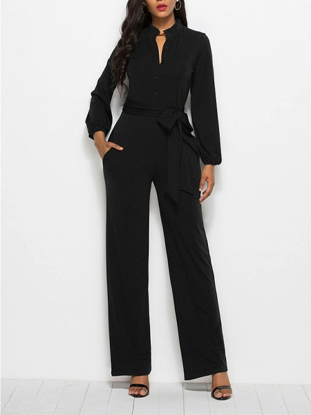 Women's Ordinary \ Business Wine Black Red Jumpsuit_7