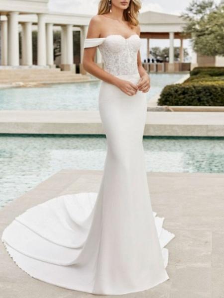 Mermaid \ Trumpet Wedding Dresses Off Shoulder Court Train Lace Satin Cap Sleeve_1