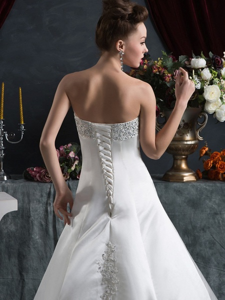 A-Line Strapless Court Train Satin Strapless Wedding Dresses_5
