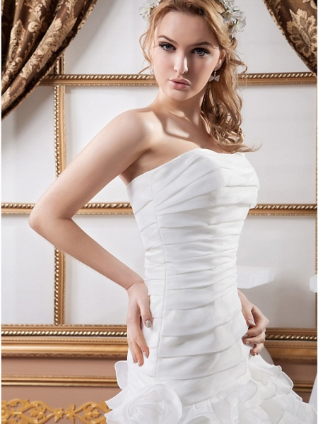 A-Line Strapless Floor Length Organza Satin Strapless Wedding Dresses_5