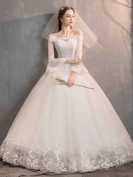Ball Gown Wedding Dresses Off Shoulder Floor Length Lace Tulle Long Sleeve Romantic Illusion Sleeve_7