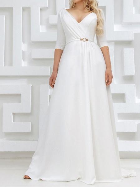 A-Line Wedding Dresses V Neck Sweep \ Brush Train Stretch Satin Half Sleeve Country Plus Size_2