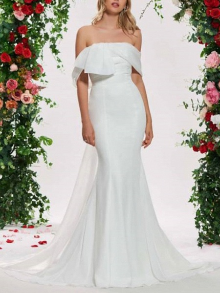 Mermaid \ Trumpet Wedding Dresses Off Shoulder Sweep \ Brush Train Organza Satin Sleeveless Sexy Backless_1