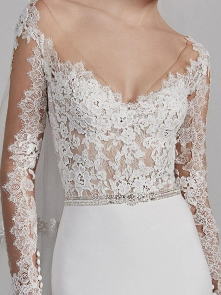 Mermaid \ Trumpet Wedding Dresses V Neck Sweep \ Brush Train Lace Charmeuse Long Sleeve Beautiful Back_3
