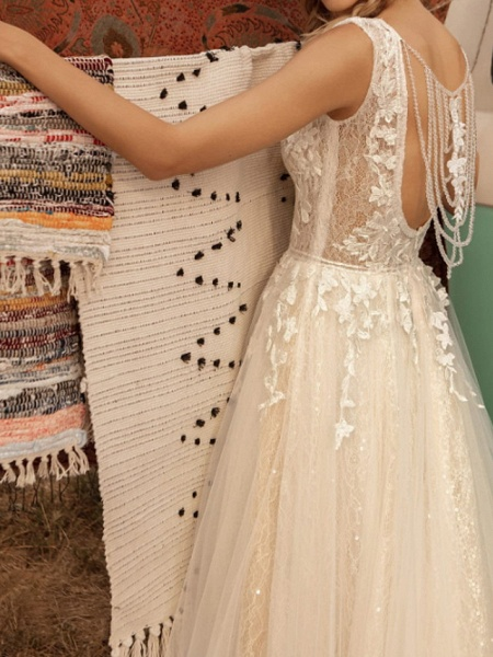 A-Line Wedding Dresses V Neck Sweep \ Brush Train Lace Tulle Jersey Sleeveless Country Plus Size_3