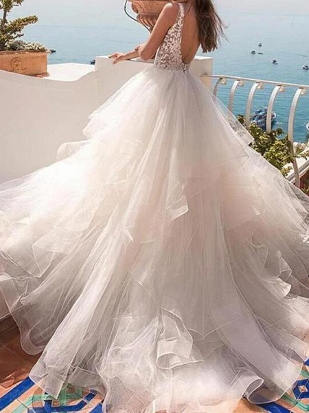 Ball Gown Wedding Dresses V Neck Sweep \ Brush Train Lace Tulle Sleeveless Country Sexy See-Through_2