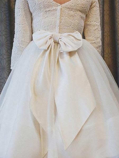 A-Line Wedding Dresses Jewel Neck Ankle Length Lace Tulle 3\4 Length Sleeve Vintage 1950s_2