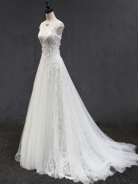 A-Line Jewel Neck Court Train Lace Tulle Short Sleeve Wedding Dresses_4