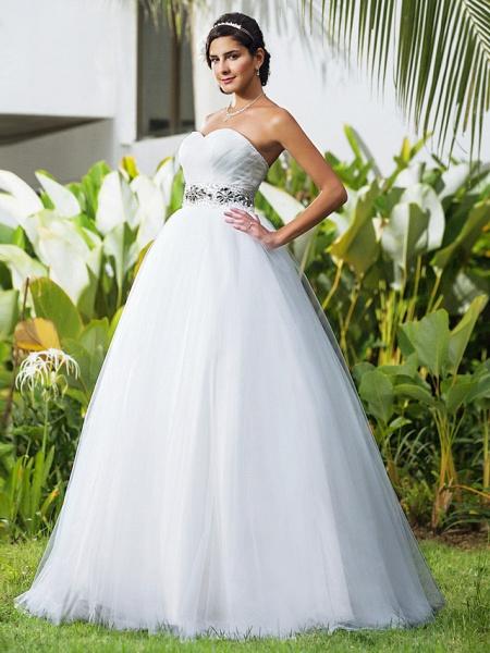 Ball Gown Wedding Dresses Sweetheart Neckline Floor Length Tulle Sleeveless Open Back_1