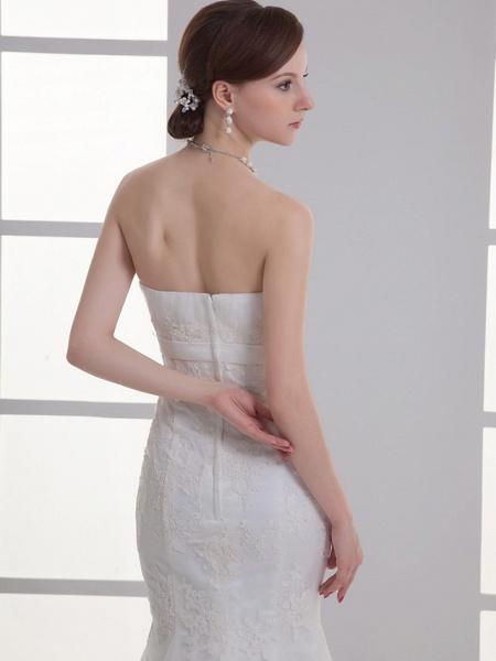 Mermaid \ Trumpet Wedding Dresses Strapless Court Train Lace Satin Strapless_5