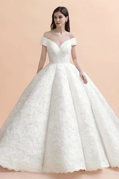 Gorgeous Backless Off-the-shoulder Ball Gown Wedding Dresses