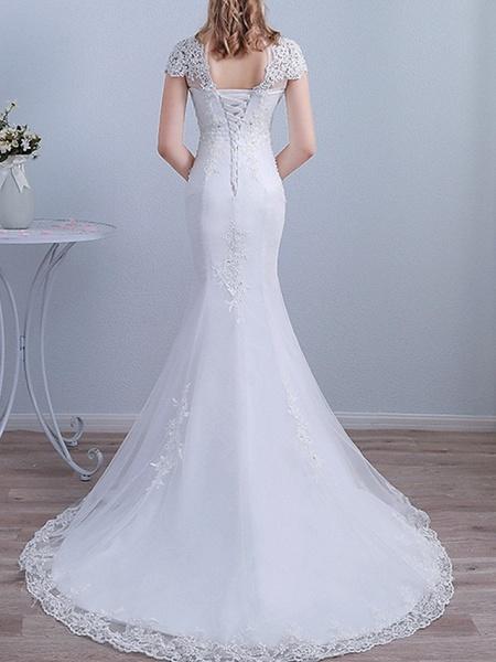 Mermaid \ Trumpet Wedding Dresses High Neck Sweep \ Brush Train Lace Short Sleeve Beach_3