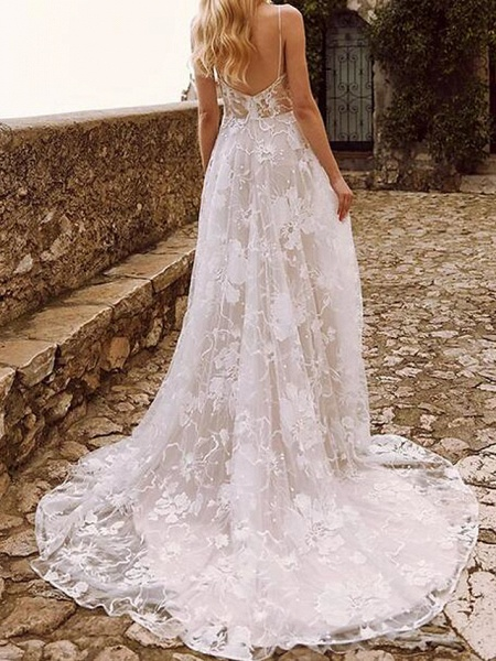A-Line Wedding Dresses V Neck Sweep \ Brush Train Lace Tulle Sleeveless Country Sexy See-Through_2
