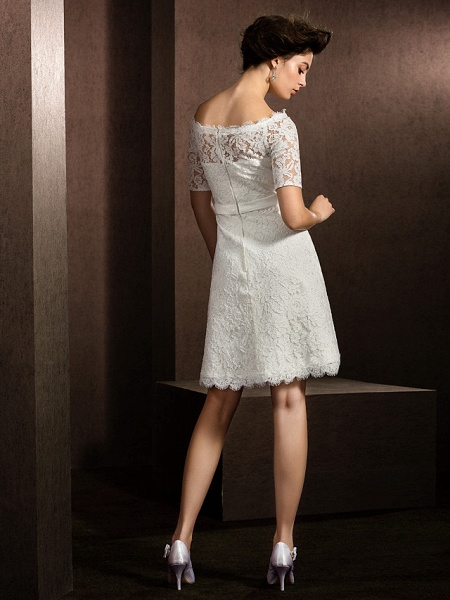 A-Line Wedding Dresses Bateau Neck Knee Length Lace Half Sleeve Formal Casual Little White Dress Illusion Sleeve_2