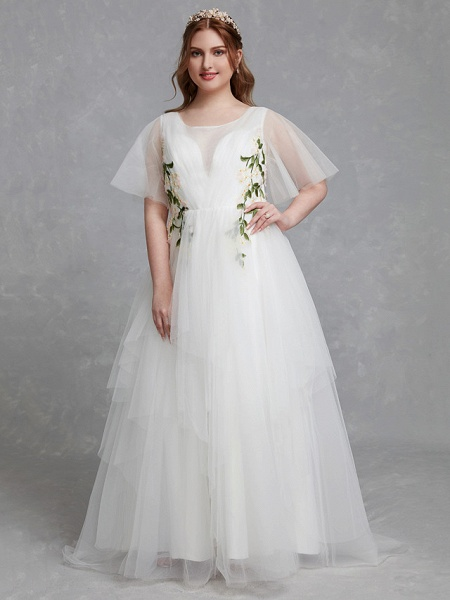 A-Line Wedding Dresses Jewel Neck Sweep \ Brush Train Tulle Short Sleeve Casual Boho Plus Size_4