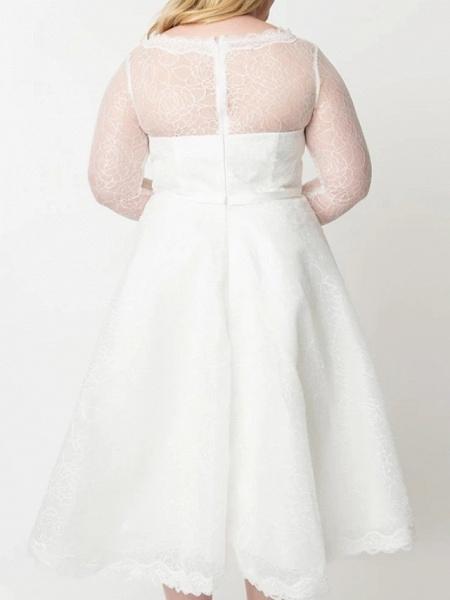 A-Line Wedding Dresses V Neck Knee Length Lace Satin Tulle Long Sleeve Vintage Little White Dress 1950s Illusion Sleeve_2