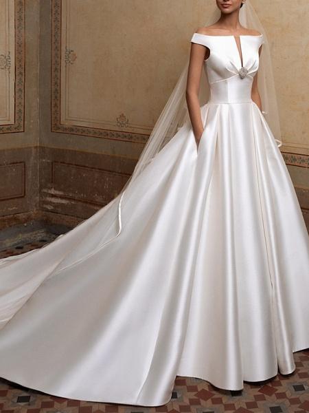 A-Line Wedding Dresses Off Shoulder Sweep \ Brush Train Satin Short Sleeve Simple Elegant_1