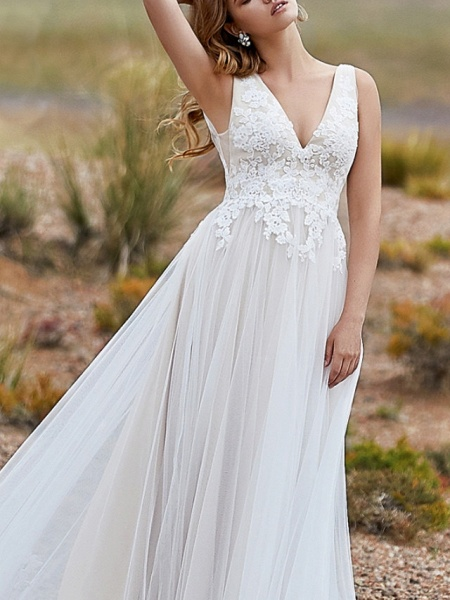A-Line Wedding Dresses V Neck Sweep \ Brush Train Lace Tulle Sleeveless Vintage Sexy Wedding Dress in Color Backless_3