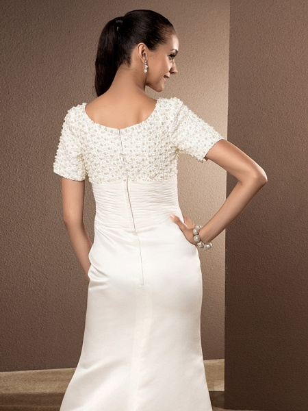 Mermaid \ Trumpet Wedding Dresses Scoop Neck Court Train Lace Satin Short Sleeve_3