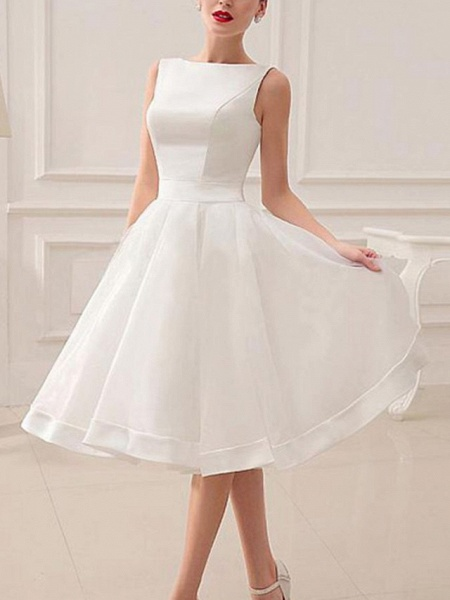 A-Line Wedding Dresses Jewel Neck Short \ Mini Satin Sleeveless Vintage Little White Dress 1950s_1