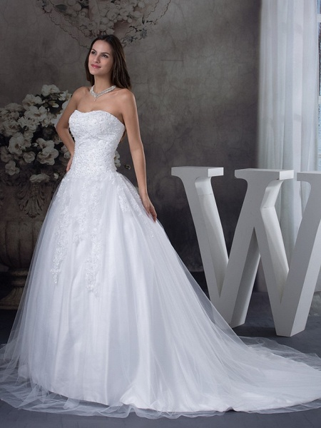 A-Line Strapless Court Train Lace Tulle Strapless Wedding Dresses_2