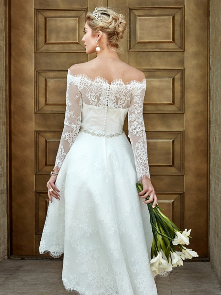 A-Line Wedding Dresses Off Shoulder Asymmetrical Lace Long Sleeve Casual Plus Size Illusion Sleeve_15