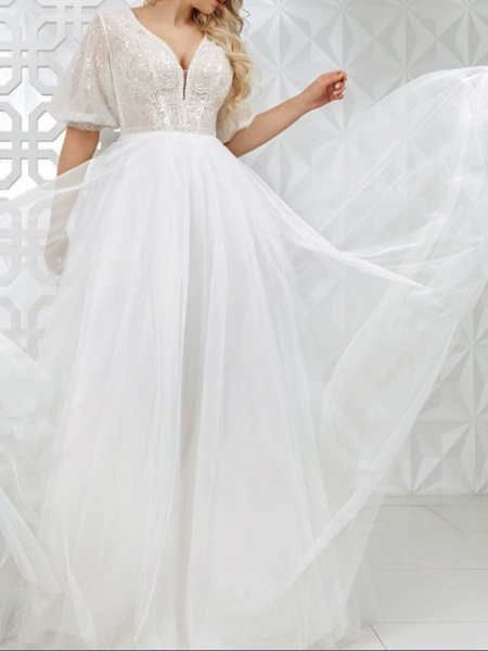 A-Line V Neck Sweep \ Brush Train Lace Tulle Sequined Half Sleeve Country Plus Size Wedding Dresses_3