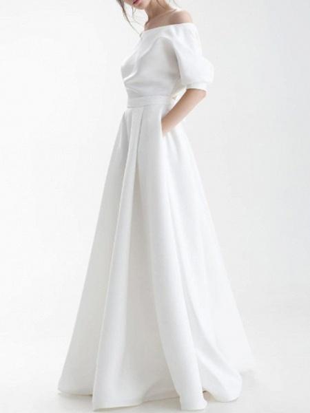 A-Line Wedding Dresses Off Shoulder Sweep \ Brush Train Chiffon Over Satin Half Sleeve Simple_2
