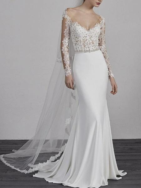 Mermaid \ Trumpet Wedding Dresses V Neck Sweep \ Brush Train Lace Charmeuse Long Sleeve Beautiful Back_1