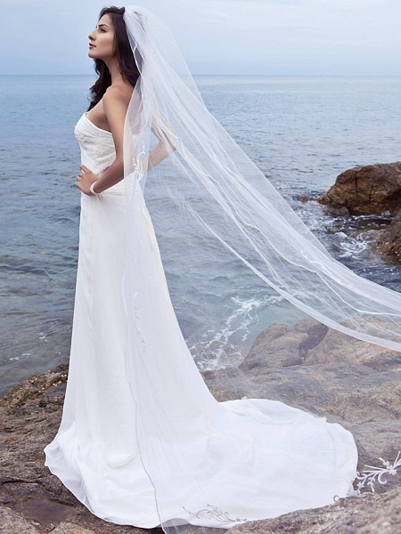 Sheath \ Column Wedding Dresses Strapless Court Train Chiffon Strapless Beach Plus Size_6