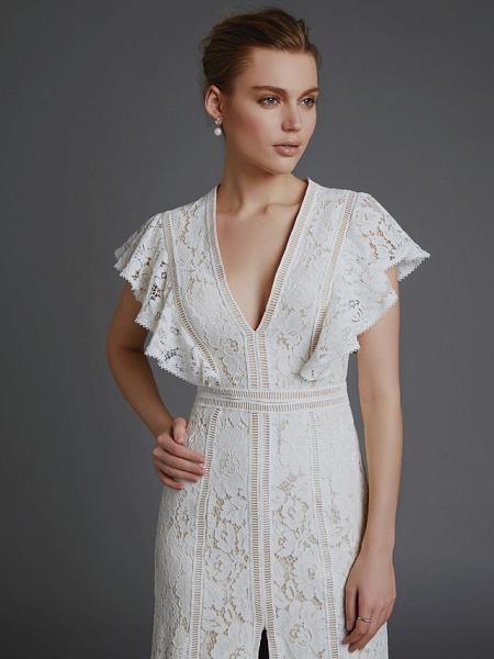 A-Line V Neck Sweep \ Brush Train Lace Sleeveless Boho Wedding Dresses_6