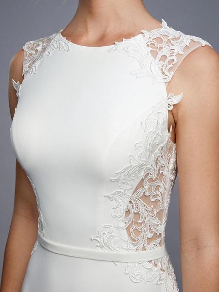 Mermaid \ Trumpet Wedding Dresses Bateau Neck Court Train Chiffon Lace Regular Straps Sexy Illusion Detail Backless_10