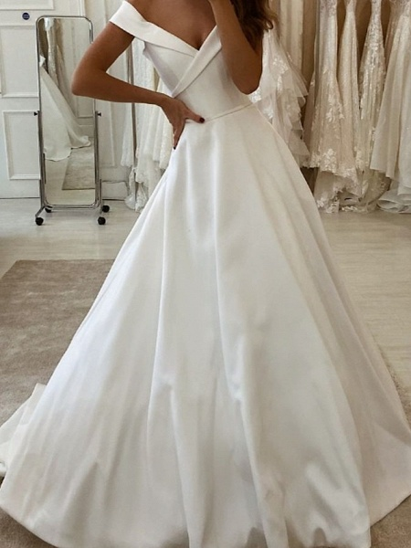 A-Line Wedding Dresses V Neck Sweep \ Brush Train Polyester Short Sleeve Country Plus Size_2