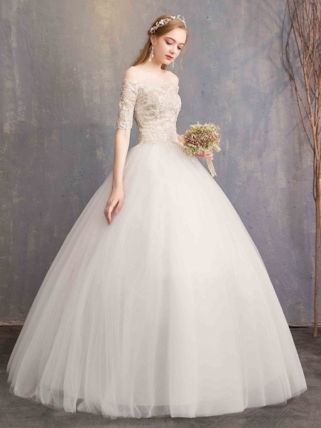 Ball Gown Wedding Dresses Off Shoulder Floor Length Tulle Lace Over Satin Half Sleeve Glamorous Illusion Detail_3