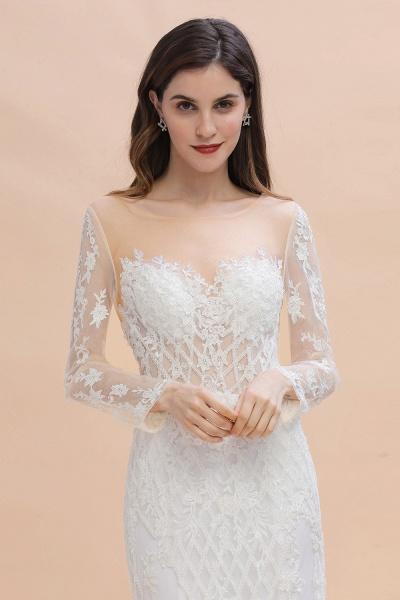 Mermaid Lace Long Sleeve Wedding Dresses With Detachable Train_5