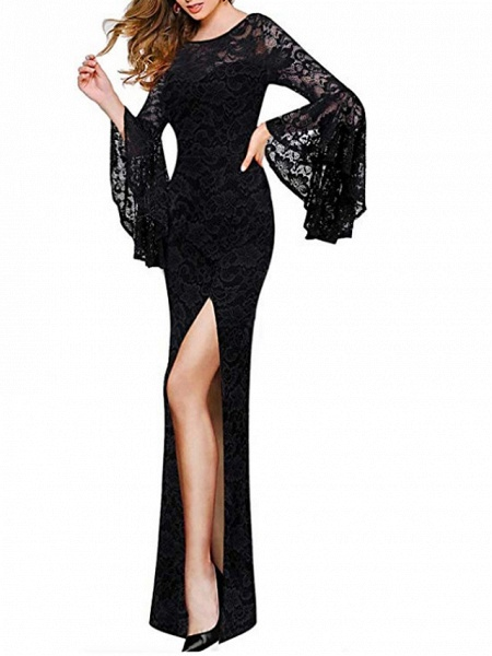 Sheath \ Column Wedding Dresses Jewel Neck Floor Length Polyester 3\4 Length Sleeve Formal Plus Size Black_2