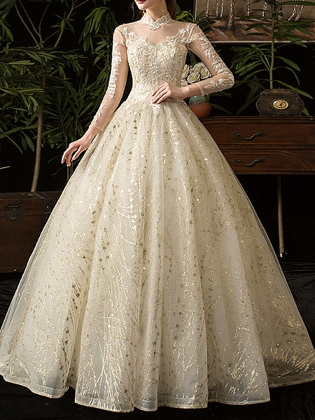A-Line Wedding Dresses Jewel Neck Floor Length Lace Tulle Long Sleeve Formal Plus Size Illusion Sleeve_4