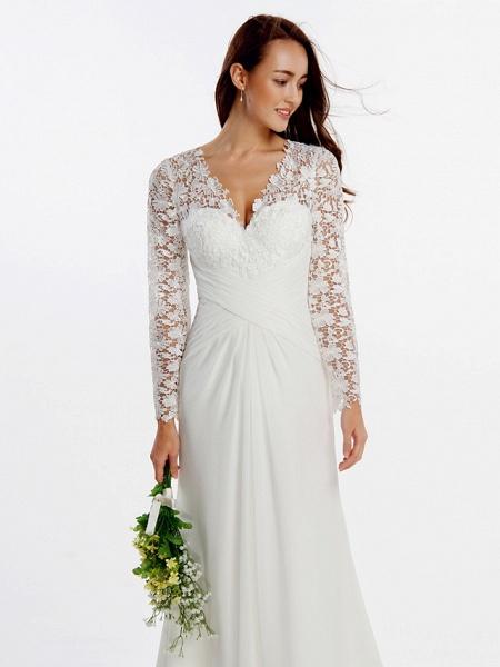Sheath \ Column Wedding Dresses V Neck Sweep \ Brush Train Chiffon Floral Lace Long Sleeve Romantic Boho Little White Dress Illusion Sleeve_6