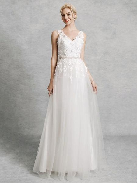 A-Line Wedding Dresses V Neck Court Train Lace Satin Tulle Regular Straps Romantic Illusion Detail Backless_1