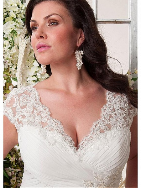 Mermaid \ Trumpet Wedding Dresses V Neck Court Train Chiffon Lace Sleeveless Simple Plus Size_3