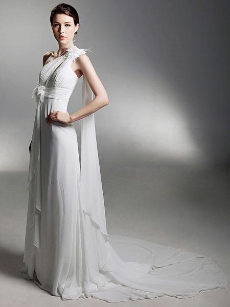 Sheath \ Column Wedding Dresses One Shoulder Watteau Train Chiffon Sleeveless_5