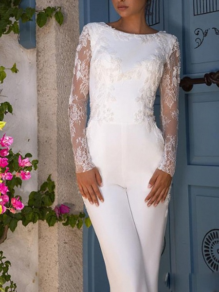 Jumpsuits Wedding Dresses Jewel Neck Court Train Lace Tulle Polyester Long Sleeve Illusion Sleeve_2