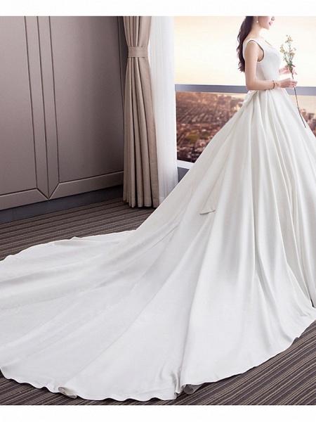 A-Line Wedding Dresses Square Neck Sweep \ Brush Train Satin Sleeveless Beach_1