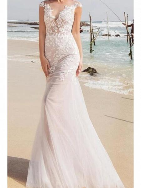 Mermaid \ Trumpet Wedding Dresses Jewel Neck Sweep \ Brush Train Lace Tulle Sleeveless Sexy See-Through_3
