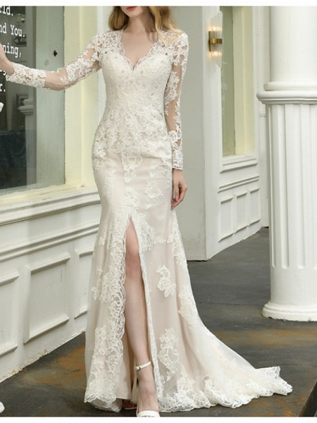 Mermaid \ Trumpet V Neck Sweep \ Brush Train Lace Tulle Long Sleeve Casual Plus Size Illusion Sleeve Wedding Dresses_1
