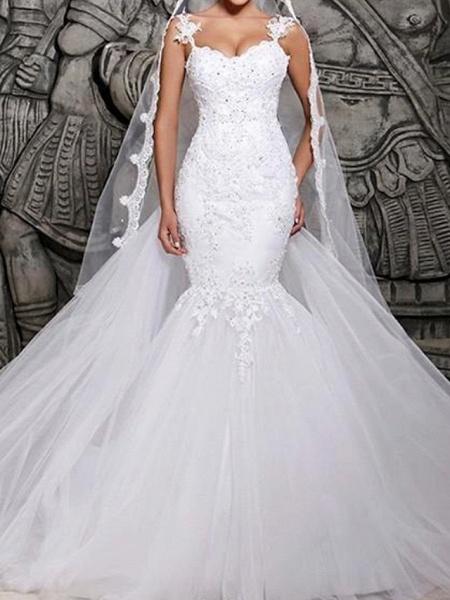Mermaid \ Trumpet Wedding Dresses Spaghetti Strap Court Train Polyester Sleeveless Country Plus Size_1