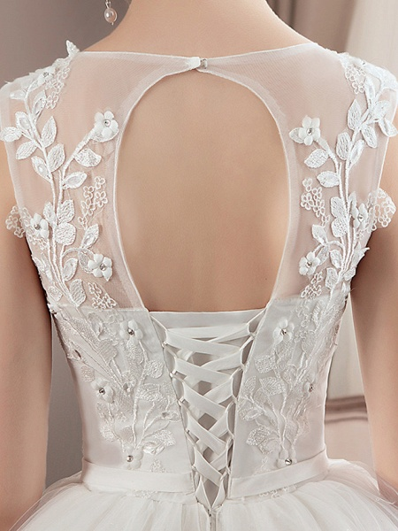A-Line Wedding Dresses Jewel Neck Floor Length Lace Tulle Polyester Regular Straps Formal Sexy See-Through Illusion Detail_9